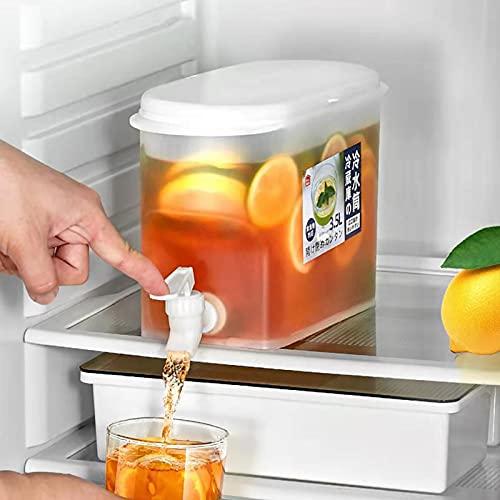 Yajun Dispensador de Bebidas de Agua para Nevera Jarra de Agua Fría para Frutas Recipiente de Jugo de Verano Frío con Grifo para Fiestas, Barbacoa de Picnic, 3,5 L