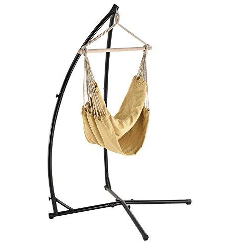 [casa.pro] Katoenen hangstoel met standaard - beige