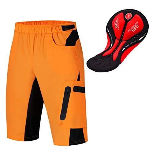 Culotte Ciclismo Hombre,3D Acolchado Transpirable Cómodo Pantalon Corto Montaña Hombre,Culotes Ciclismo Hombre, para Correr Deportes al Aire Libre Pantalon Mountain Bike(Size:L,Color:Naranja)