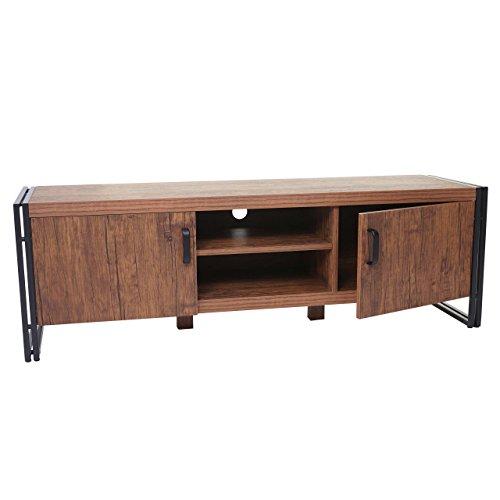 Mendler TV-Rack HWC-A27, Fernsehtisch Lowboard Kommode, 3D-Struktur Metall 45x140x40cm - Wildeiche-Optik