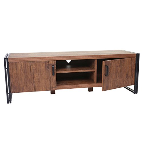 Mendler TV-Rack HWC-A27, Fernsehtisch Lowboard, 45x140x40cm 3D-Struktur, Wildeiche-Optik