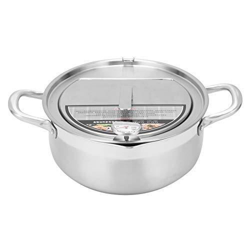 Olla de acero inoxidable con termómetro de 3 capas desmontable alambre Rack accesorio de cocina de acero inoxidable fácil de limpiar (freidora de 304 profundos: 24 cm (sin logo))