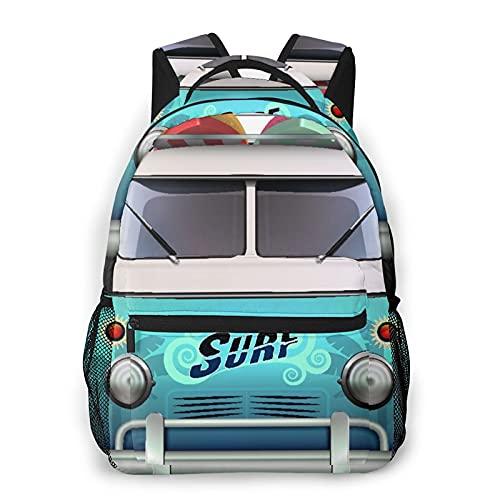 Mochila para adolescentes, hombres, mujeres, paquete de almacenamiento,Summer Blue Surf Vintage Van Surfer Roof, Mochila para portátil de viaje para estudiantes de escuela informal de negocios
