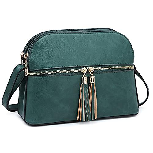 Dasein Women Tassel Zipper Pocket Crossbody Bag Shoulder Purse Fashion Travel Bag with Multi Pockets(1-Dark Green)