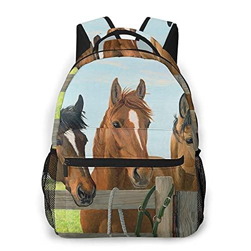 DJNGN Mochila informal con estampado de caballos, mochila clásica para viajar con bolsillos laterales para botellas