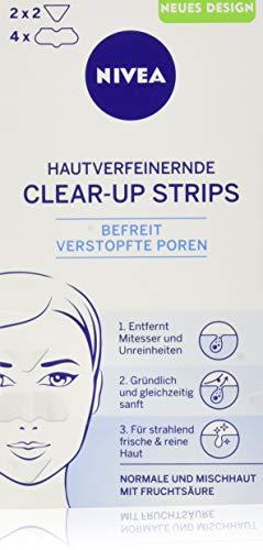 Nivea, Clear-Up Strips viso, per la rimozione di punti neri e impurità, 6 pz, 4 x naso e 2 x fronte