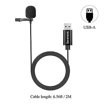 Upgraded Saramonic USB Lavalier Micrphone for PC&MAC, 2M USB-A Laptop Desktop Computer Lapel Microphone