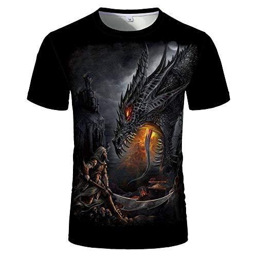 Unisex 3D Druck T-Shirt,Herren 3D Digital Printed Design Grafik Abstrakter Drache Schwarz Gothic Sommer Lässig Kurzarm T-Shirt Mit Rundhalsausschnitt Für Männer Frauen Tie-Dye-T-Shirts, X, Groß