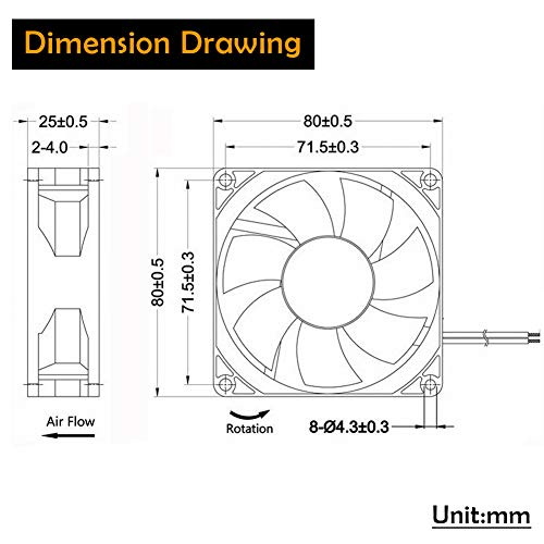 GDSTIME 4500RPM 8cm 80mm x 80mm x 25mm 12v Big Airflow High Speed Dual Ball Bearing Brushless DC Cooling Fan