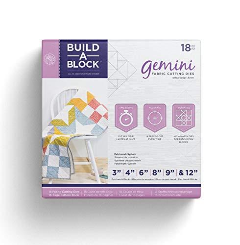 Gemini Patchwork System Build-a-Block Set de Acolchado de Trabajo de Parche de Tela y Textil, Blanco, Metal, Multicolor, Talla Unica