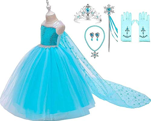 Romy's Collection Princess Blue Ice Queen Tutu Costume Party Dress-up Set (3-4, Blue)