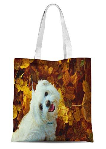 Tragetasche für Mädchen und Damen, Herbst-Design, aus Segeltuch, mit Malteser-Hund