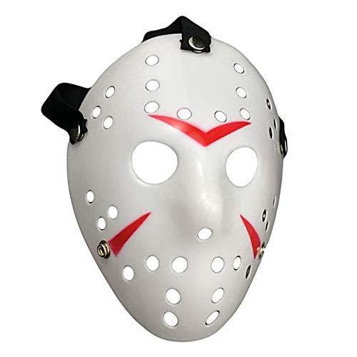 Junyulim Jason Voorhees Mask Cosplay Mask Halloween Mask for Masquerade Party Bar Cosplay Halloween( White)