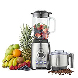 VonShef Blender, Juicer & Grinder with Glass Jug with Powerful Variable Speeds & Pulse Function for Smoothies, Juices & Ice Crushing, Includes Stainless Steel Coffee/Spice Grinding Attachment – 1000W