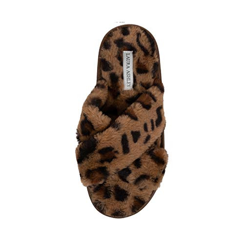 Laura Ashley Ladies Animal Leopard Plush Cross Band Slippers With Memory Foam Insole