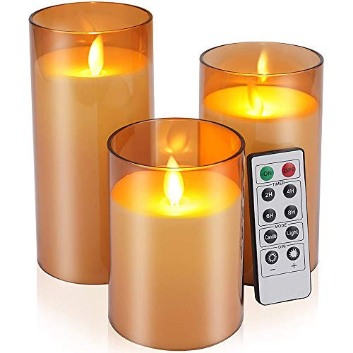 ICHDICH LED Flameless Candles, Battery Operated Real Pillar Wax Flickering Moving Wick Effect Glod Glass Candle Set with Remote Control Cycling Timer, 4 inch, 5 inch, 6 inch, Pack of 3 Brown
