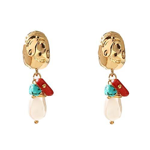 DFDLNL Pendientes de Oreja para Mujer Pendientes de Gota de Perlas Irregulares Pendientes geométricos Hechos a Mano de Piedra de Coral Rojo para Mujer