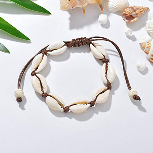 Egurs Hawaiian stijl armband natuurlijke schelp handgeweven verstelbare enkelband zee strand vakanties
