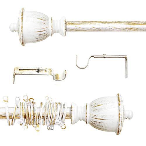 AT17 Gardinenstange Vorhangstange Gardinenstange Variable Länge Landhaus Shabby Chic - Vintage - 120-210 - Durchmesser 2 cm - Weiß/Gold - Metall