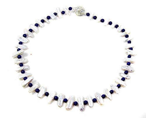 Damen Halskette Perlenkette aus Biwaperlen mit Zwischenperlen aus Lapislazuli