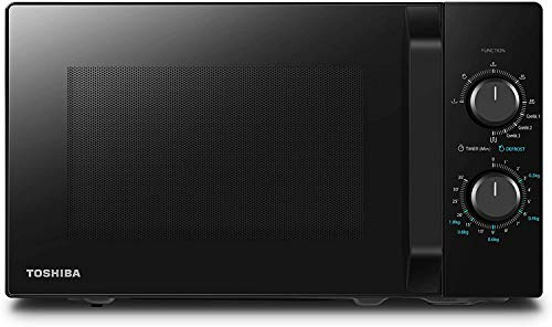 Toshiba MW2- AG23PF Four à micro-ondes avec grill et cuisson combinée, 23 L, 8 Menus facile, pivotant avec mémoire de position, 900 W, grill 1050 W, 48,5 x 40,3 x 29,6 cm, noir