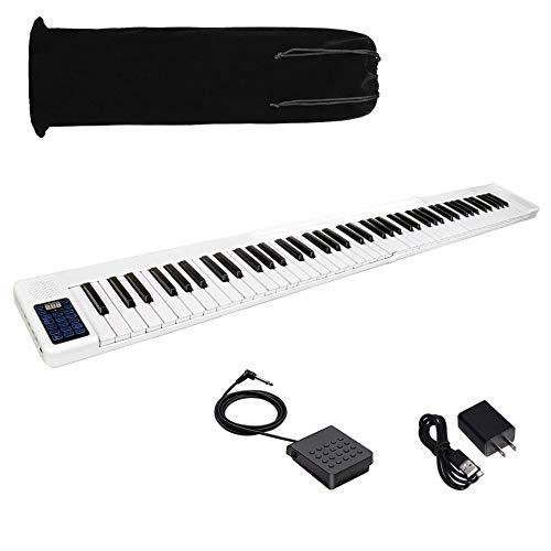 トモイ TOMOI 電子ピアノ 88鍵盤 折り畳み式 携帯型 デジタルピアノ ポータブル タブレット スマホスタンド サスティンペダル スリムボディ MIDI 長時間連続利用可能 奥行きわずか17cm 練習にピッタリ 初心者 大人 子供 お勧め 一年間品質保証