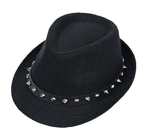 East Majik Mode Femmes et Hommes Rivet Decor Fedora Hat Billycock - Noir