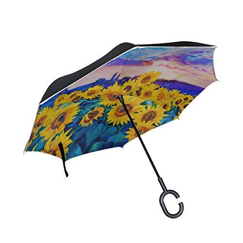 Paraguas de Mesa Plegable Invertida de Doble Capa Paraguas Amarillo y Hermoso...