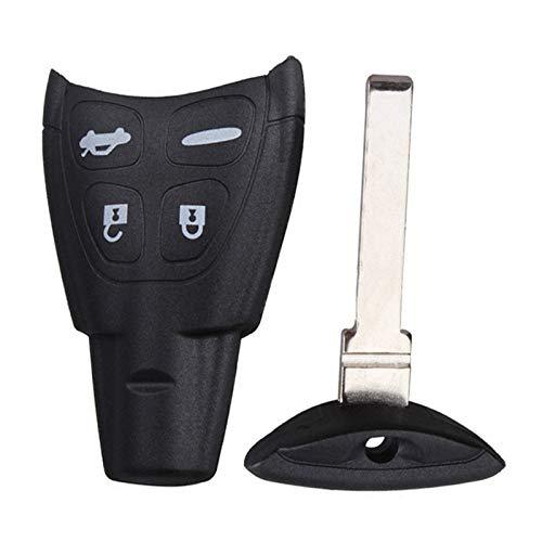Carcasa para llave de coche con 4 botones para SAAB 93 95 9-3 9-5 WF 4, con hoja con logotipo