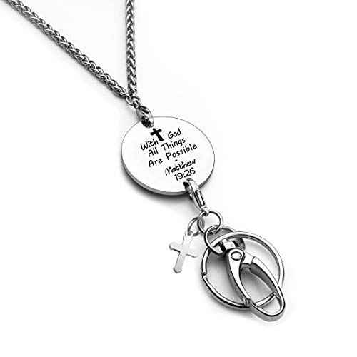Fashion Christian Lanyard for ID Badge Holder ID Necklace with God All Things are Possible Stainless Steel Lanyard for Women(with god)