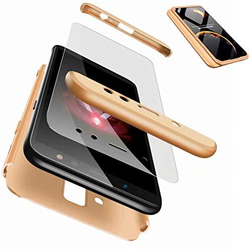 JJWYD Funda para Samsung Galaxy A6 Plus/A6 + + Gratis Cristal Templado, para Samsung Galaxy A6 Plus/A6+ Funda 3 in 1 Hard Caja Caso PC Protective Ultra Delgado Anti-rasguños Case Caso - Gold