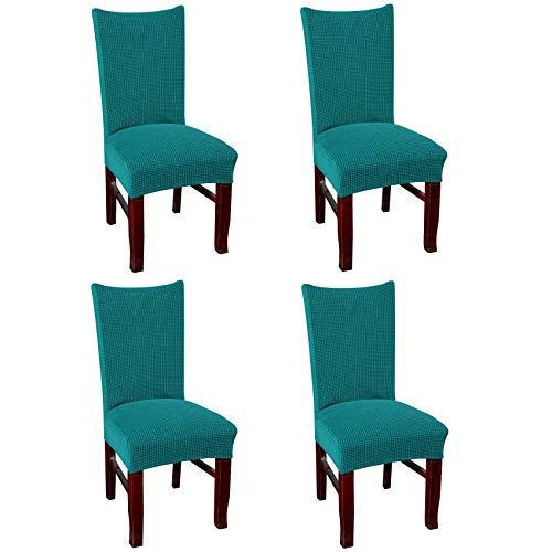 FGBAY Super Fit Stretch Removable Washable Short Dining Chair Protector Cover Seat Slipcover for Hotel,Dining Room,Ceremony,Banquet Wedding Party(Pack of 4,BQ Green)