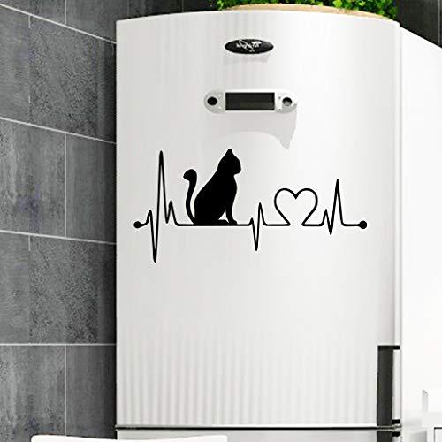 Tophappy Wall Stickers Gatto Nero Creativo Adesivo da Parete/Porta/Frigo per Salotto Camera da letto Adesivo Murale Removibile Impermeabile Famiglia Arte Murale Home Decor