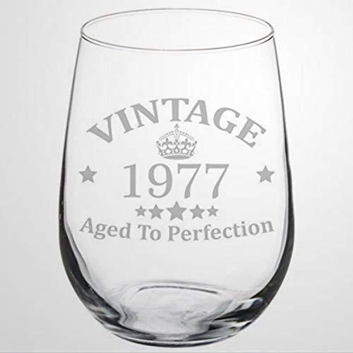 Copa de vino para 40 cumpleaños, vintage, envejecida a la perfección, sin...