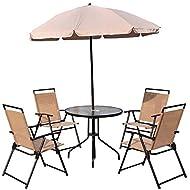 Tilting Parasol Glass Reclining Armchairs Headrest