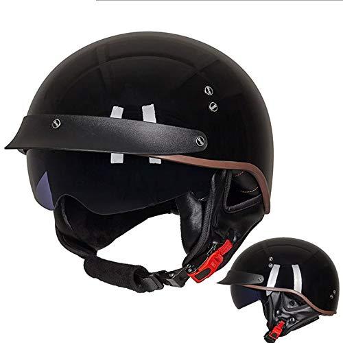 YYYY Harley-Helm, Retro, Sonnenbrille, Abnehmbarer Gehörschutz, bequem und atmungsaktiv, Halbgesichts-Fahrradhelme für Männer und Frauen, M-XXL 3-XL