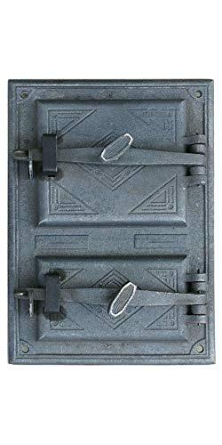 QLS Ofentür Backofentür Holzofentür Kaminofentür doppelte aus Gusseisen 42,5 x 30 cm