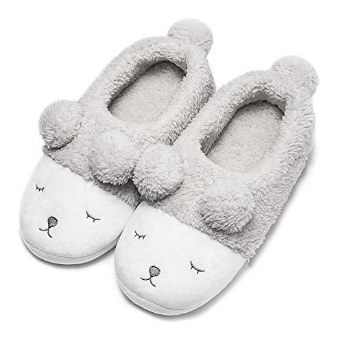 GaraTia Warm Indoor Slippers for Women Fleece Plush Bedroom Winter Boots Grey Low Top 11-12 M US