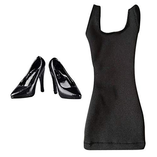 ZSMD 1:6 vrouwelijke figuren zomerjurk met hoge hak schoenen voor vrouwen actieffiguren - zwart