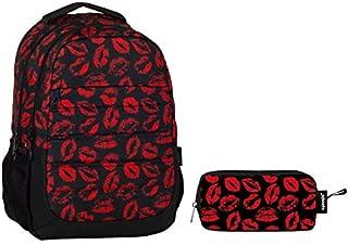 d15cf86a049e1 Cennec Öpücük Baskılı İlkokul ve Ortaokul Çanta Seti (Kırmızı Siyah(