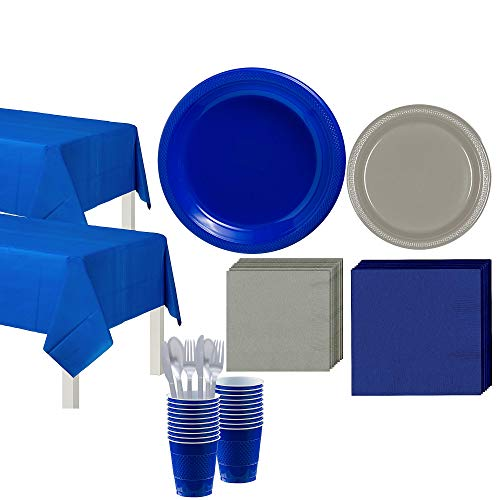 Party City Blue and Silver Tableware Kit, Party Supplies for 20 Guests, Includes Table Covers, Plates, Napkins, Cups