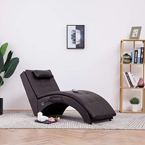 Festnight- Relaxliege Liegesessel Lounge Liege | Chaiselongue mit Kissen | Wohnzimmer Liegestuhl mit 5 Massagemodi und Heizfunktion - Kunstleder Braun