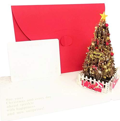クリスマスグリーティングカード (赤, Standard M) ポップアップ 高級 おしゃれ プレゼント メッセージ グリーティングカード クリスマスカード
