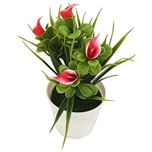 Austinstore Faux Plantes artificielles en pot Verdure Arbustes Branches d'eucalyptus Bonsaï Plastique Bébé Breath Fleurs Maison Plantes 1 pièce Red