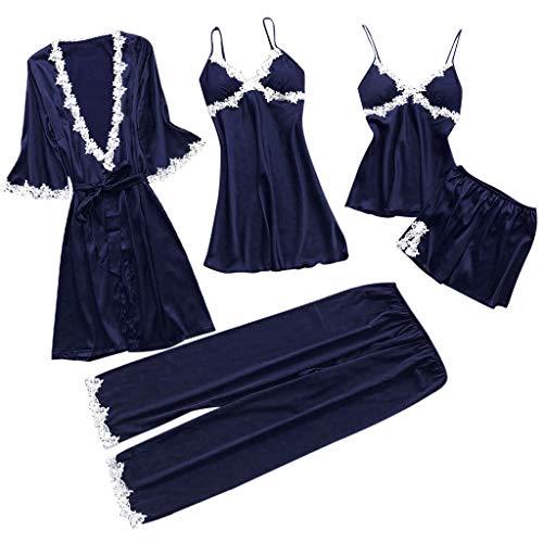 Proumy Conjunto Pijamas Mujer Verano Batas Sexy de Seda 5 Piezas Sets Camisola de Tiras Pantalones y Calzoncillos Kimono Cuello V Larga Chaleco de Encaje Floral Blanca Ropa de Dormir Vestido Morado