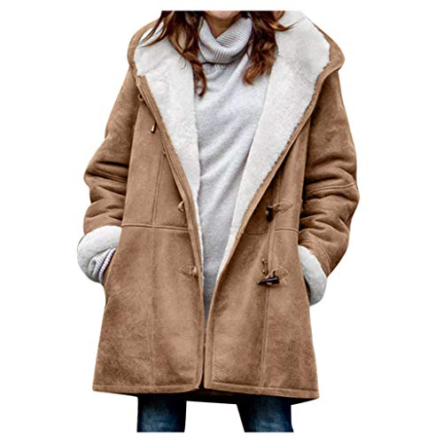 Women Winter Warm Coats Plush Lining Hooded Jacket with Pockets Casual Parka Overcoat (3XL, Khaki)