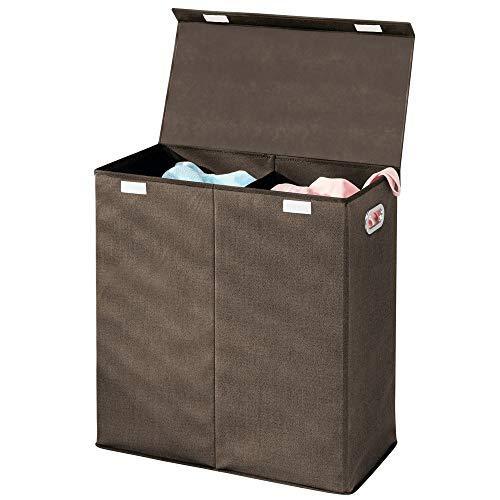mDesign panier à linge pliable en polypropylène respirant à deux compartiments – sac pour lessive design pour salle de bain, etc.– trieur de linge sale à couvercle et poignées – brun foncé