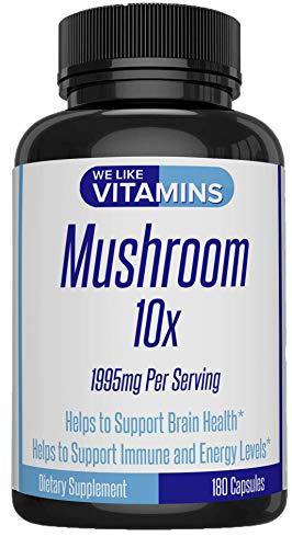 Mushroom Supplement 10x 1995mg Per Serving 180 Capsules - 10 Mushroom Blend: Cordyceps, Reishi, Shiitake, Lions Mane, Maitake, Turkey Tail, and Chaga + 3 More - Helps Support Brain and Immune System