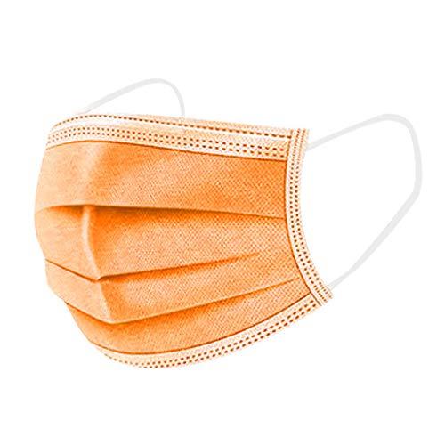 50 Stück Orange/Rosa/Lila Einmal-Mundschutz Mundbedeckung Erwachsene 3-lagig Atmungsaktiv Einweg Mund und Nasenschutz Atmungsaktive Gesichtsschutz Bandana Bedeckung Halstuch (Orange)