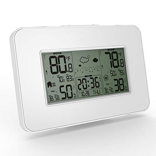 SLMY weerstation met outdoor sensor, draadloze klok met LCD-scherm en gezicht pictogrammen, monitor temperatuur en vochtigheid voor thuis kantoor